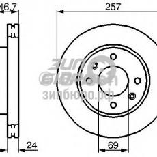Диск тормозной передний Elantra XD -03 (все)/Elantra XD 03- (без ABS)/Matrix (BOSCH)-0986479207