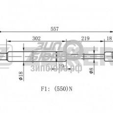 Амортизатор двери задней Santa Fe I (ZEKKERT)-GF1119