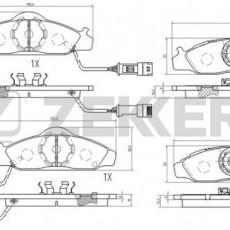Колодки тормозные передние Musso/Korando (с ABS) -00 (ZEKKERT)-BS2421