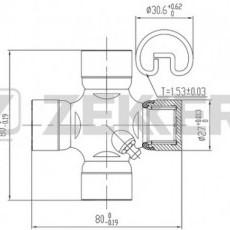 Крестовина кардана Porter/Starex 2WD/Galloper (задн)/Grace/Santa Fe I/Porter II (ZEKKERT)-KG1018
